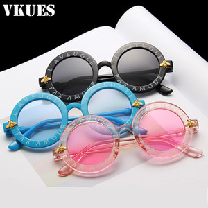 VKUES Steampunk Bee Детские солнцезащитные очки Мальчики Vintage Дети Солнцезащитные очки Круглый малышей Glasses Детский Оттенки óculos Gafas