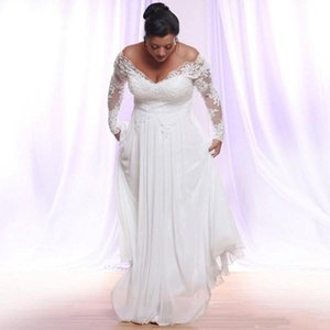 2020 Plus Size Wedding Dresses Elegant A Line Long Sleeve Floor Length Bridal Gowns With Lace Chiffon Country Bridal Gowns