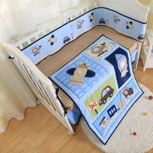 4шт синий автомобили трафика Детская кроватка Детская кроватка Пододеяльник 100% хлопок здоровой печати -bumper, хлев skrit, приспособленный лист и хлев юбка