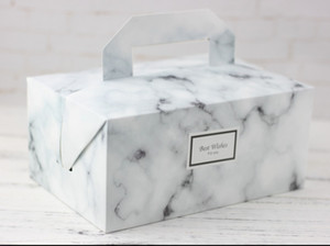 2019 새로운 뜨거운 판매 화이트 대리석 핸들, 초콜릿 쿠키 선물 상자 휴대용 포장 상자 디자인 종이 케이크 상자