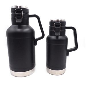HOT!!! 64oz Flagon with Handle 1900ml Stainless Steel Sports Kettle Large Capacity Kidney Flask Wine Pot Hip Flask Portble Beer Bottles Bar