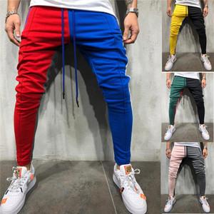 L'Uomo Vogue Patchwork Contrasto Colore Hip Hop Pantaloni Pantaloni maschio Slim sportivo Streetwear matita Harem dei pantaloni