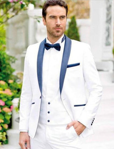 Trendy One Button White Groom Tuxedos Groomsmen Blazer Shawl Lapel Best Man Suits Mens Wedding Suit Formal Male Tux (Jacket+Pants+Vest+Tie)