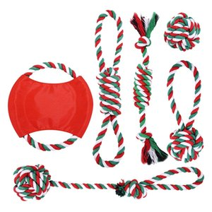 6 Pcs Dog Rope Toys Christmas Toy Gift Set Cotton Rope Knot Chew Toy for Medium and Large Dogs Teething Cleaning and Training