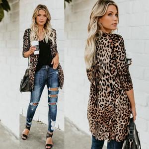 Mulheres Leopard Tops Casual longas jaquetas Chiffon Abrir ponto solto Blusa Verão Cardigan Exteriores