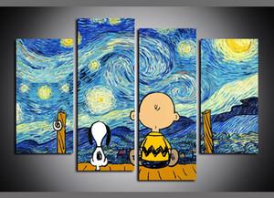 4 Platten Van Gogh Sternennacht Karikatur Snoopy und Charlie Brown Kunstwerke Leinwand-Wand-Kunst für Hauptdekor Poster Leinwand Ölgemälde
