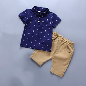 Kids Clothes Sets Children's Summer Clothings Boy Anchor Print Little Boy Child Clothes Sets Baby Boys 2 Pcs Suit Kids Clothing