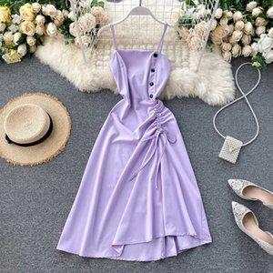 FMFSSOM Yaz İlkbahar Düğmeler Tek Breasted Dantel-up Katı Canlı Renkli Kadınlar Kadın A-line Yüksek Bel Midi Elbise