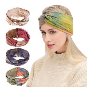 Mulheres Tie-Dyed Sobrepostas Boêmio Headband Força Elástica Movimento Arco Hairbands Broadside Lindo Lenço Novo Padrão de Venda Quente 4xma J1