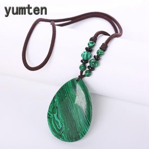 Cadena Yumten malaquita collares de piedra verde pendiente de las mujeres de la vendimia joyería geométrica natural abalorios cadena de la cuerda Talisman Tetera