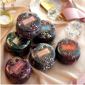 Fleur de thé Case Tea Leaf Can fête de mariage bonbons Boîte de rangement Dorure Tin Conteneur Cérémonie de mariage de chocolat Cadeaux Boîtes