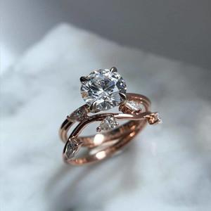 Top qualidade Rose cor de ouro Sparkling Zircon folhas Anéis definidas para presente de Dia mulheres acoplamento do casamento festa de jóias dos Namorados