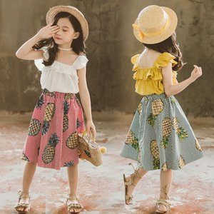 2020 New Girls Summer Clothing Set Camisole+Skirt Kids Printed Pineapple Clothes Sets Short Sleeve Tshirt Knee-Length Skirts