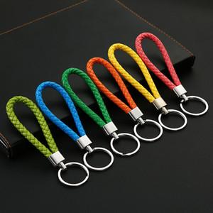 venda quente anel criativo chave tricô mão corda carro puro corda de couro de luxo anel homens-chave e mulheres atacado presente