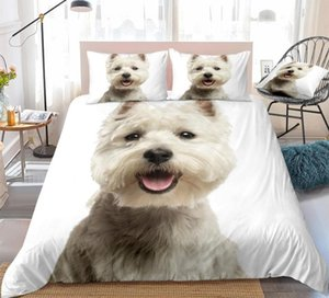 3D Dog Duvet Cover Set West Highland White Terrier Bed Set White Bedding Kids Boys Girls Cute Pet Quilt Cover 3pcs Dropship