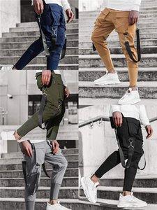 Мульти Карманы ленты Карандаш Брюки мужские Тонкий Сплошные цвета заплатки Спортивные штаны Streetwear Hip Hop Мужские повседневные брюки