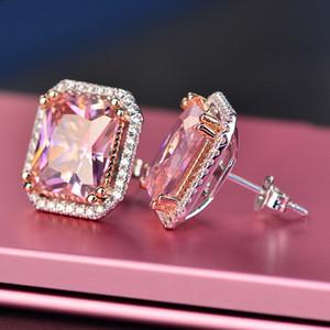 Rosa Ankunft Beste-Freunde-weißes Gold 18K überzog Ohrringe großer Diamant-Ohrringe für Frauen White Zircon Ohrringe