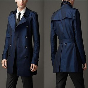 2019 new men's fashion Slim long double-breasted windbreaker high-end personality big coat