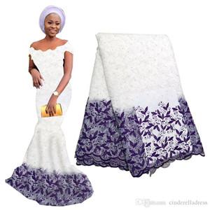 Neueste Pure White African-Netz-Spitze-Gewebe für Brautkleid gestickte Nigerian Spitze Schweizer Voile-Spitze in der Schweiz mit Perlen