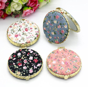 Makeup Compact Pocket Floral Mirrors Double-side Folding Mirror Cloth Cover Printed Portable Round Mirrors Party Gift SN692
