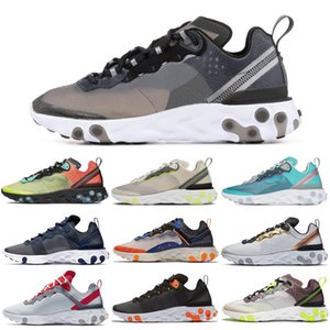 React Element 55 87 Running Shoes Triple Black White Midnight Navy Orange Royal Tint Metallic Gold Women Mens Trainer Sports Sneakers 36-45