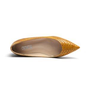 YECHNE Amarelo Snakeskin padrão das mulheres sapatos de plataforma do dedo do pé Pointed Flats Moda Primavera Outono Plataforma Shallow Ballet Shoes