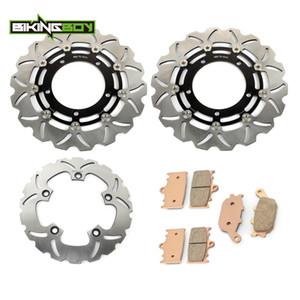 BIKINGBOY Front Rear Brake Discs Disks Rotors + Pads GSF 1250 Bandit   S 07-15 GSF 650 07-14 GSX650F 08 09 10 11 12 13 2014 2015