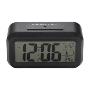 Alarme de bateria Escritório Sensor Relógio de mesa Digital Clocks Student grande relógio LCD Snooze Temperatura Crianças Luz Relógio