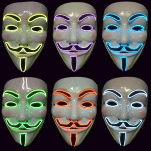 filo Vendetta EL Maschera Maschera LED lampeggiante Cosplay Anonymous Maschera per Glowing danza maschere di carnevale del partito DHF233