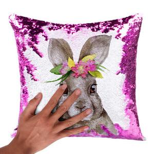 Coniglio federe Pasqua decorazioni paillettes Panno coniglio decorativa Stampa Gettare accessori per la decorazione del partito della casa cuscini