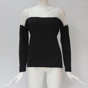 Tshirts Bahar Patchwork O yaka Casual Sonbahar Uzun kollu Tees Kadınlar Moda Lace Tops