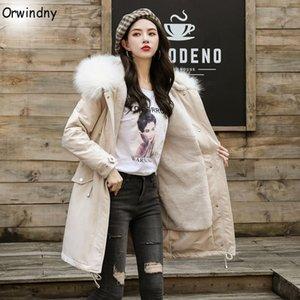 Orwindny Casaco Feminina lungo incappucciato Parka Donne Giacche Grande pelliccia calda giacca invernale donne XS-2XL lana d'agnello cappotti femminile