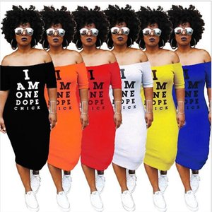 Ombro Mulheres Carta vestido longo I Am One Dope pintainho Impresso vestido de verão Off Uma peça-saia Roupa Sleeve Bodycon curto vestido de festa
