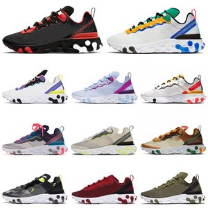 Nike React Element 87 55 Chaussures de course pour homme, femmes RED ORBIT Moss Royal Tint Jade Total Orange Navy Baskets de Sport Baskets 36-45