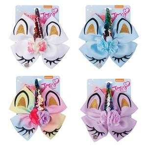 """4pcs / Lot 6"""" Jojo Siwa Unicorn Saç Yaylar İçin Kızlar Glitter Print Jojo Yaylar ile Çiçek Pullu Horn Toptan Saç Aksesuarları"""