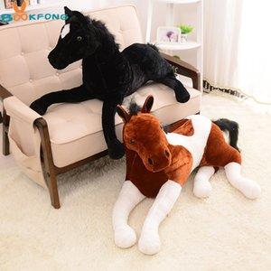 Caballo de juguete de felpa BOOKFONG 1PC Simulación animal 70x40cm Propenso caballo muñeca para Cumpleaños Regalo Y200623