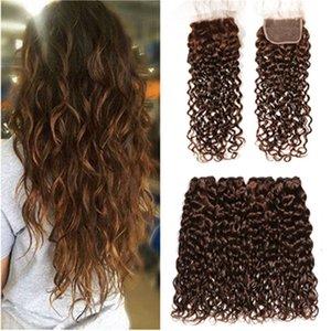 Cheveux humains humides et ondulés de Malaisie n ° 4 4Bundles avec fermeture Trames de tissage de cheveux humains brun chocolat avec fermeture de lacet 4x4