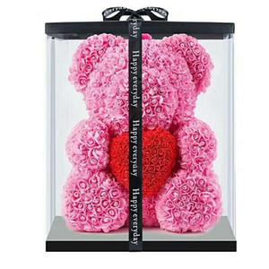 10 шт. 40см с сердцем Большой красный медведь роза цветок искусственные украшения рождественские подарки для женщин валентинок подарок с коробкой