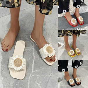 Women Slippers Little Daisy Print Flip Flops Summer Slides Women Shoes Breathable Beach Slides Sandals Shoes Zapatos Mujer 4.30