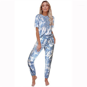 Loose Tracksuits Summer Designer Crew Neck Drawstring Tie Dye Home Suits Clothing Females Comfortable Sets Womens Gradient 2pcs