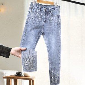 Women's Rhinestone Jeans 2020 Spring New Heavy Industry Diamond Set Fashion Pants Western Style Pants Street Style Jeans Woman