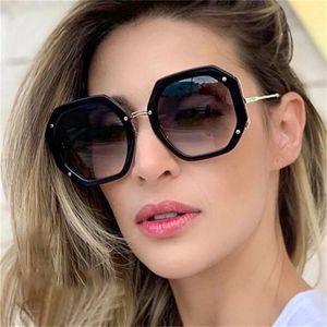Luxury Metal Oversized Sunglasses Sunglasses Mens Women's Gradient Shades Vintage Big Black Octagonal UV400 2020 Temples Cxopj