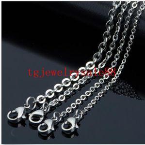 1.5 / 2 / 2.4 / 3mm 100 pçs / lote de aço inoxidável cruz de prata homens cadeia colar de pingente de jóias por atacado DIY 16-40 polegada