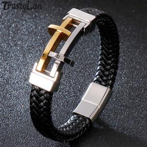 Rope Catena Pregate Croce Bracciale uomo in pelle oro / Bracciali Mens nero dell'acciaio inossidabile dei monili mano Wrap Fascia con catenaccio del magnete