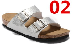Arizona Women's Flat Sandals Women Double Buckle Famous style Summer Beach design shoes Top Quality Genuine Leather Slippers 36-47 t14