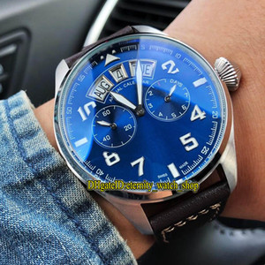 Alta Qualidade 502703 Piloto Pequeno Príncipe Aço Caixa azul Multi-função Dial Dia Big Data Automatic Mens Watch Couro Strap Esporte Relógios