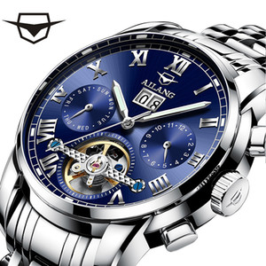 AI Lang genuine popular full-automatic mechanical business hollow refined steel waterproof multi-functional Swiss brand men's Watch