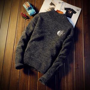 Мужские свитера пуловер с длинным рукавом Толстовка конструктора O-образным вырезом Тонкий теплый свитер Bottom трикотажной Зима Мужская одежда
