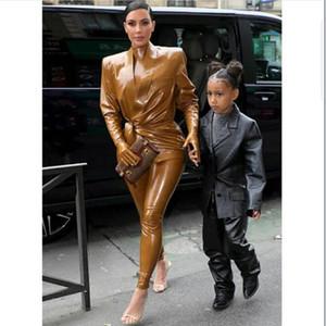 vestido de noite Yousef aljasmi Mulheres Suit Kim Kardashian 2020 Brown 3 Pieaces terno de couro vestuário Fur terno Coordenadas alta pescoço longo sleev
