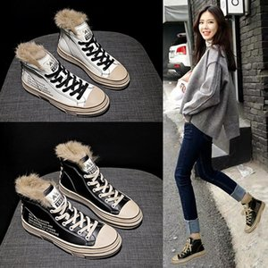 Casual Small White Shoes Women Winter Plush Cotton Shoes New Women's Shoes Thick Bottom Muffin High Top Sneakers